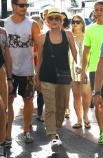 SHARON STONE at Her Hotel with Friends Having Lunch in Miami 11/08/2015