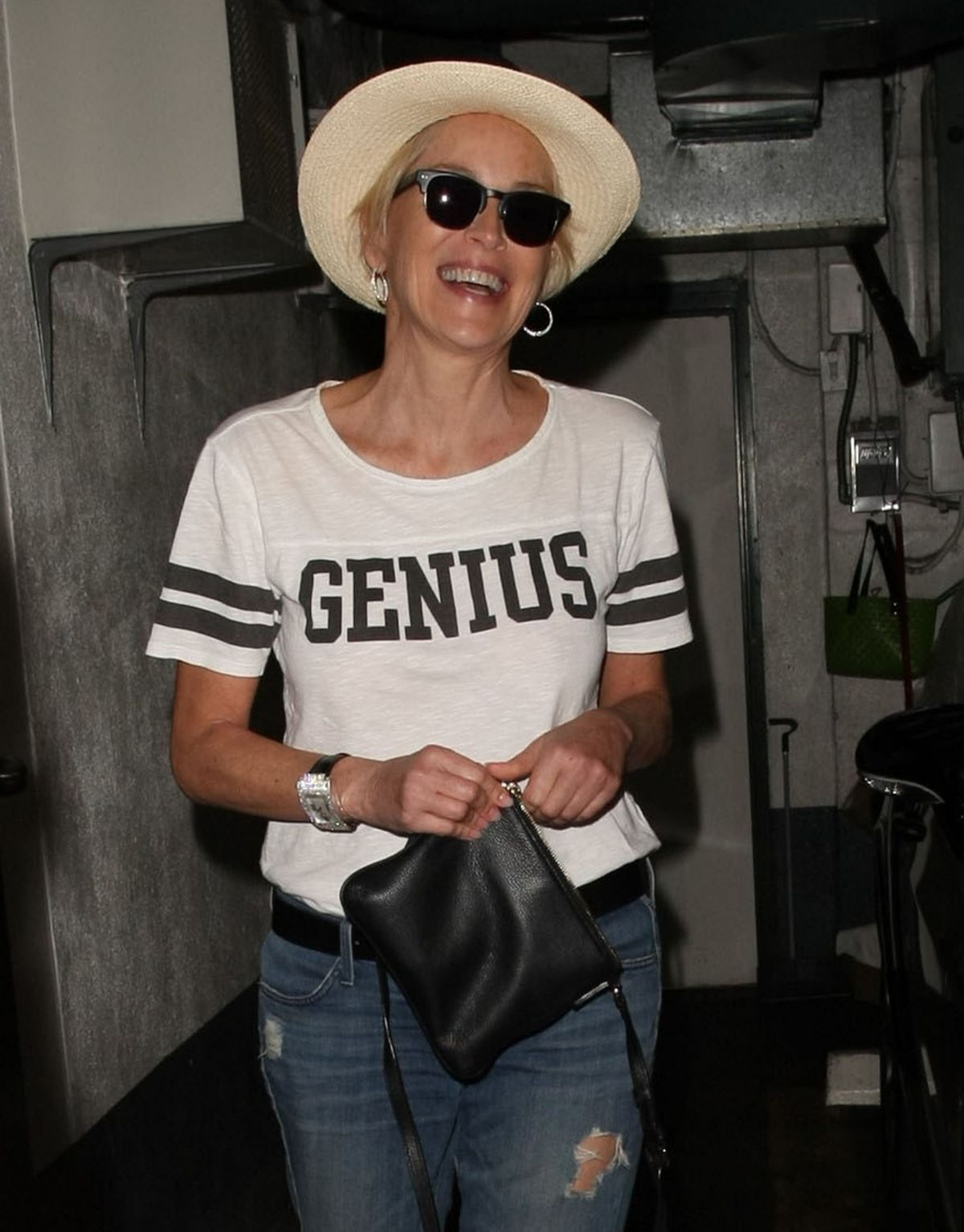 SHARON STONE Leaves a Nails Salon in Beverly Hills 10/31/2012