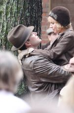 SIENNA MILLER on the Set of Live by Night Movie in Boston 11/23/2015