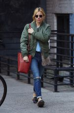 SIENNA MILLER Out in New York 11/22/2015