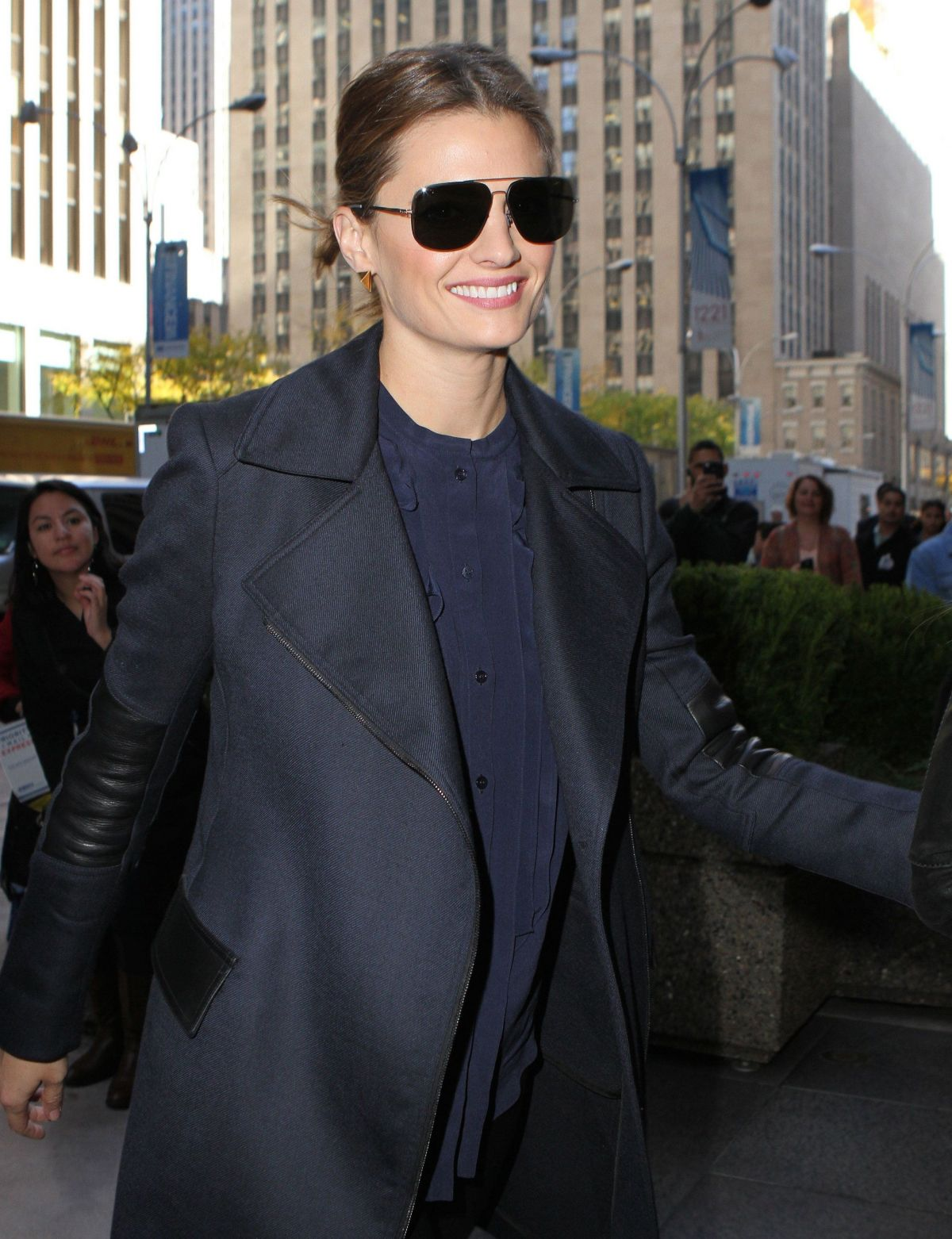 STANA KATIC Leaves Good Morning America Studios 11/10/2015