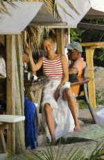 UMA THURMAN at a Beach Bar on Shell Beach 11/16/2015