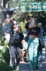 VANESSA and STELLA HUDGENS Leaves Aroma Coffee & Tea in Los Angeles 11/13/2015