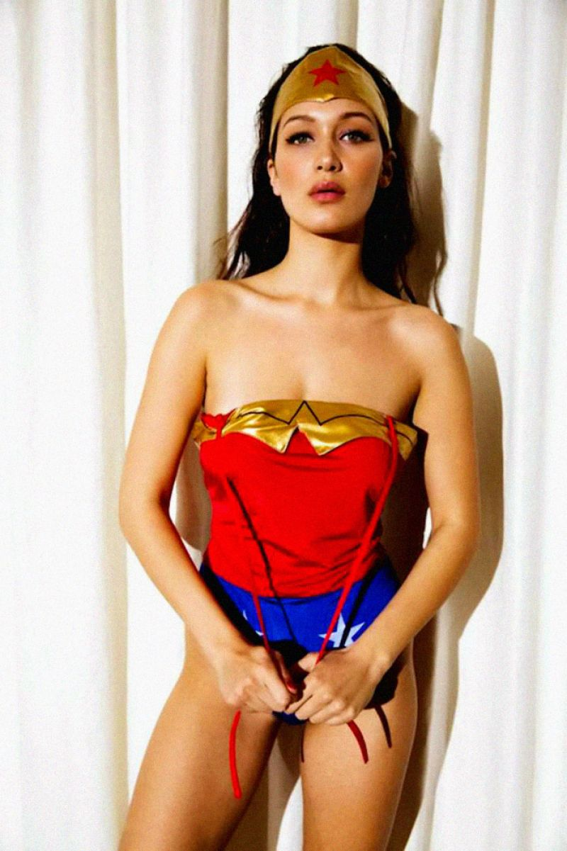 BELLA HADID as Wonder Woman in 2015's Love Magazine Advent Calendar