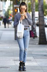 BELLA HADID in Ripped Jeans Out Shopping in Los Angeles 12/23/2015