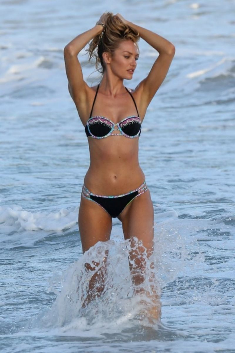 CANDICE SWANEPOEL on the Set of VS Photoshoot at the Beach in St. Barts 12/12/2015