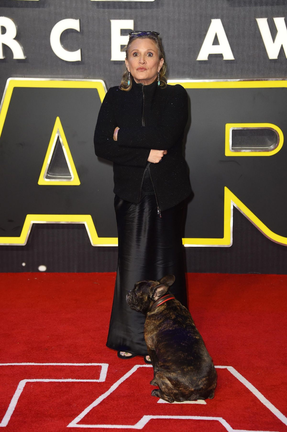 CARRIE FISHER at Star Wars: The Force Awakens Premiere in London 12/16/2015