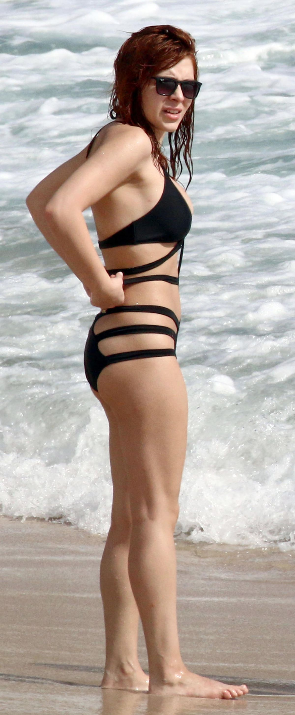 ELENA SATINE in Swimsuit at a Beach in St. Barts 12/27/2015