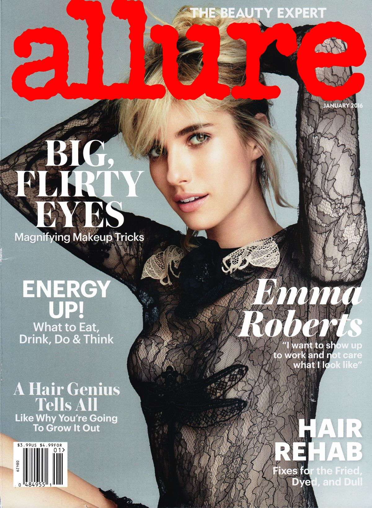 EMMA ROBERTS in Allure Magazine, January 2016 Issue