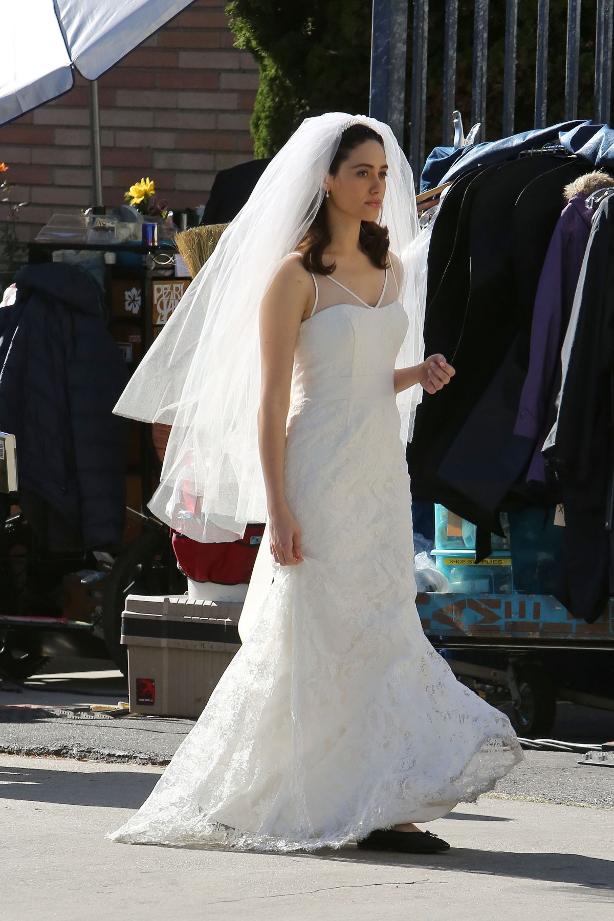 EMMY ROSSUM In Wedding Dress On The Set Of Shameless Los Angeles 12 02