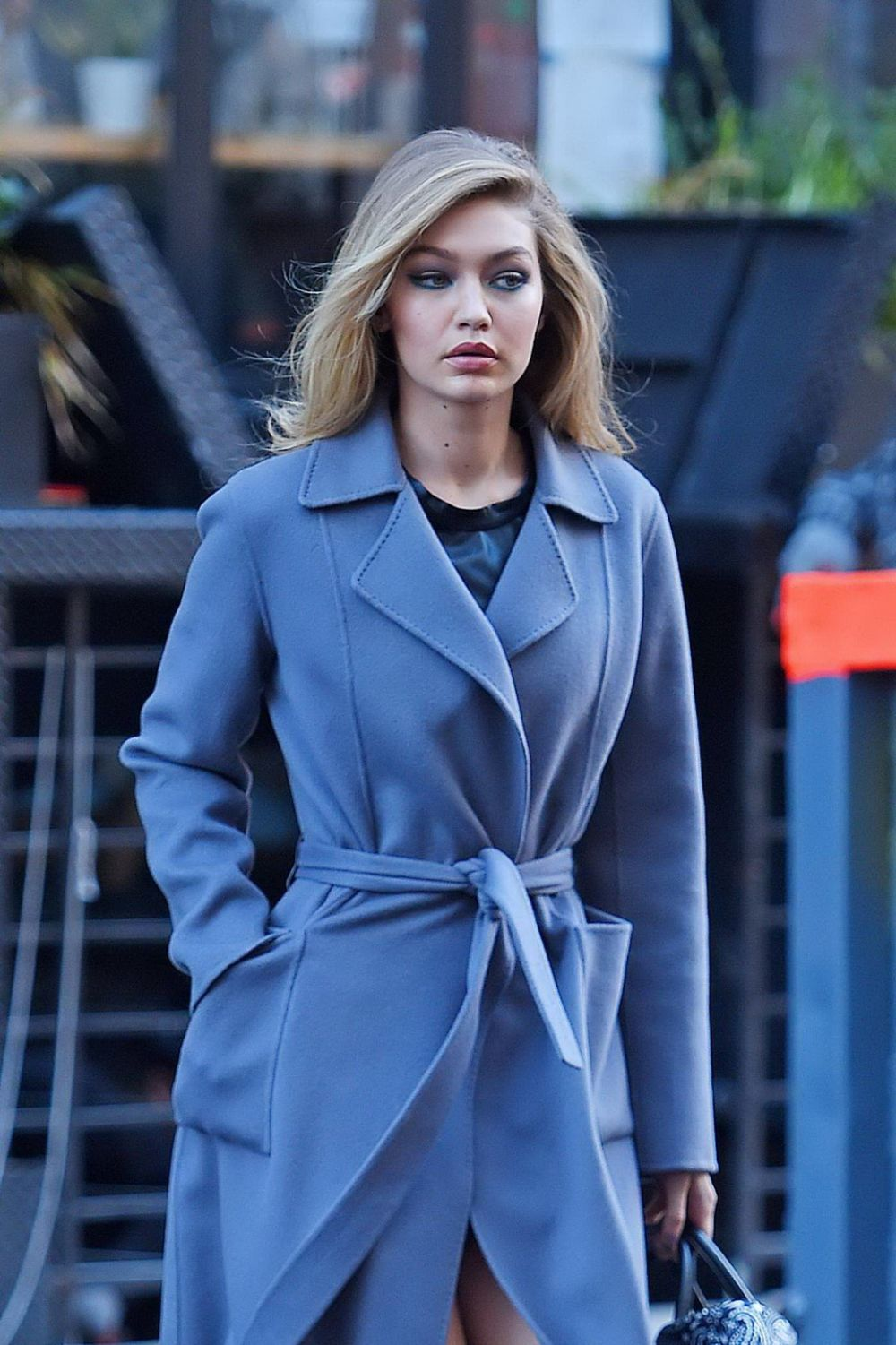 GIGI HADID on the Set of Maybelline Photoshoot at Brooklyn Bridge in New York 12/14/2015