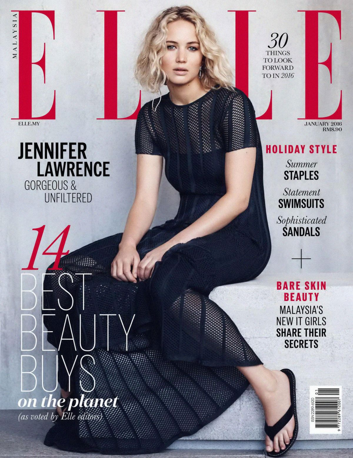 JENNIFER LAWRENCE in Elle  Magazine, Malaysia January 2016 Issue