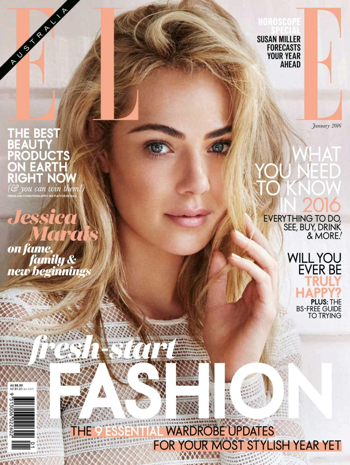 JESSICA MARAIS in Elle Magazine, Australia January 2016 Issue