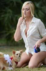 KATE ENGLAS Walks Her Dog Out in Miami 12/24/2015