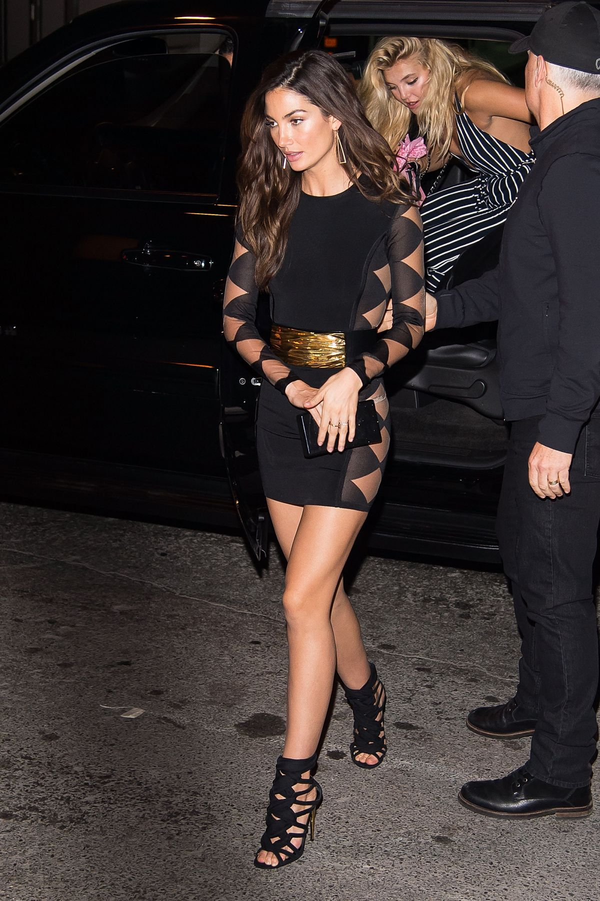 LILY ALDRIDGE Arrives at Victoria's Secret 2015 Fashion Show Viewing Party in New York