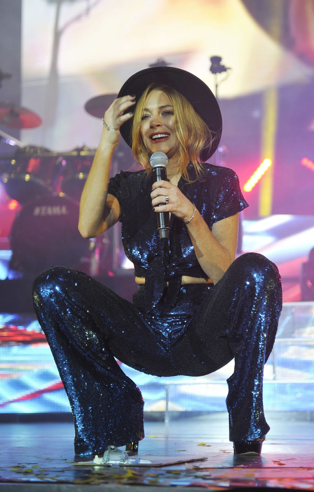 LINDSAY LOHAN Performs at O2 Arena in London 12/08/2015