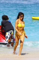 LIZZIE CUNDY in Yellow Bikini at a Beach in Barbados 12/28/2015