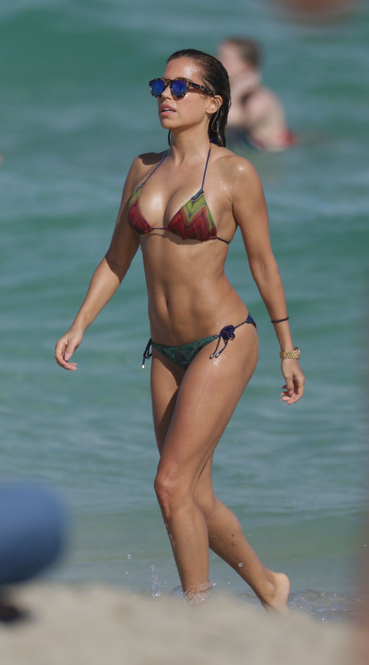 Sylvie Meis in Black Bikini on the beach in Miami Pic 7 of 35