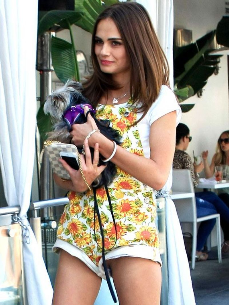 XENIA DELI Walks Her Dog Out in Los Angeles