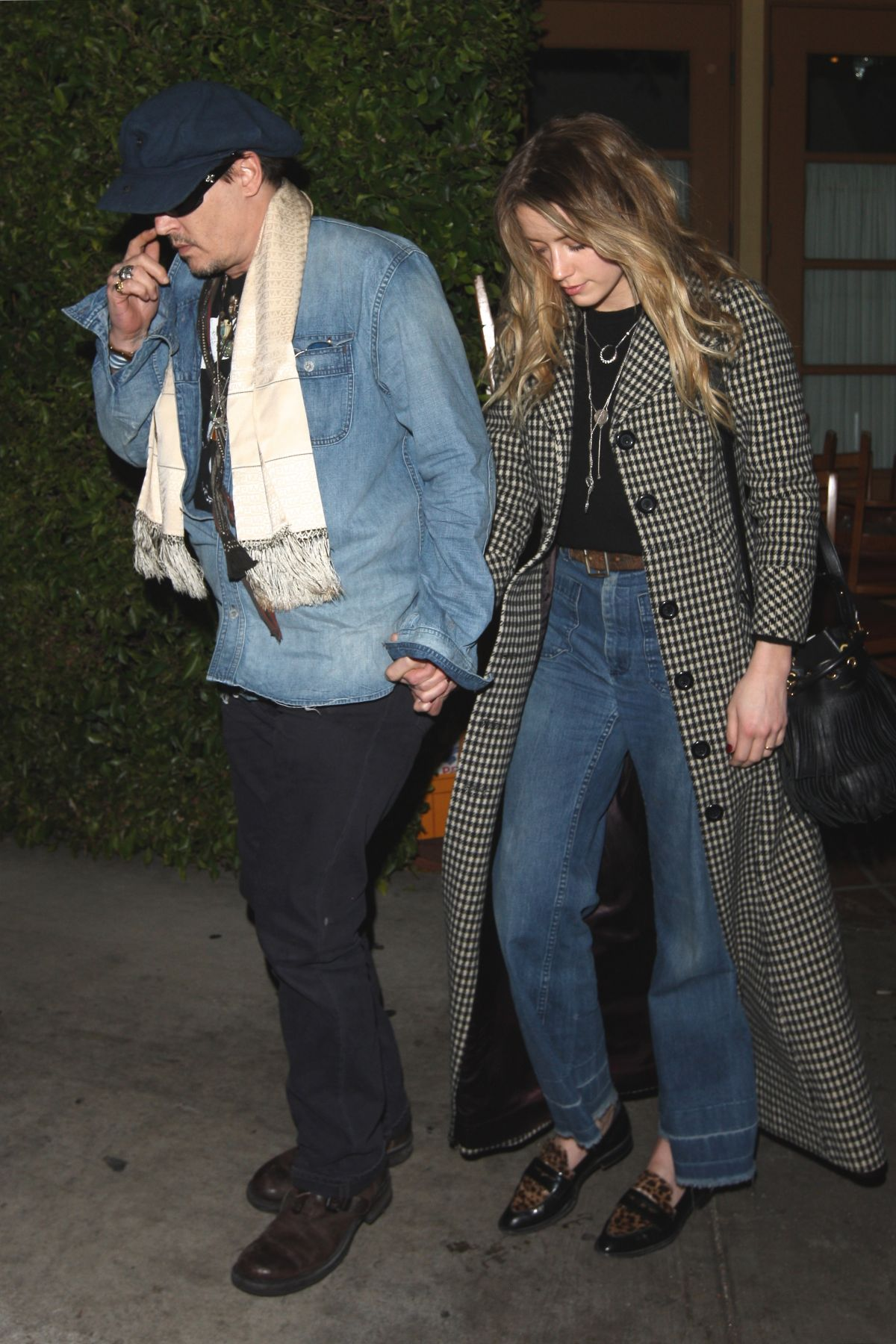 AMBER HEARD and Johnny Depp Leaves a Restaurant in West Hollywood 12/15/2015