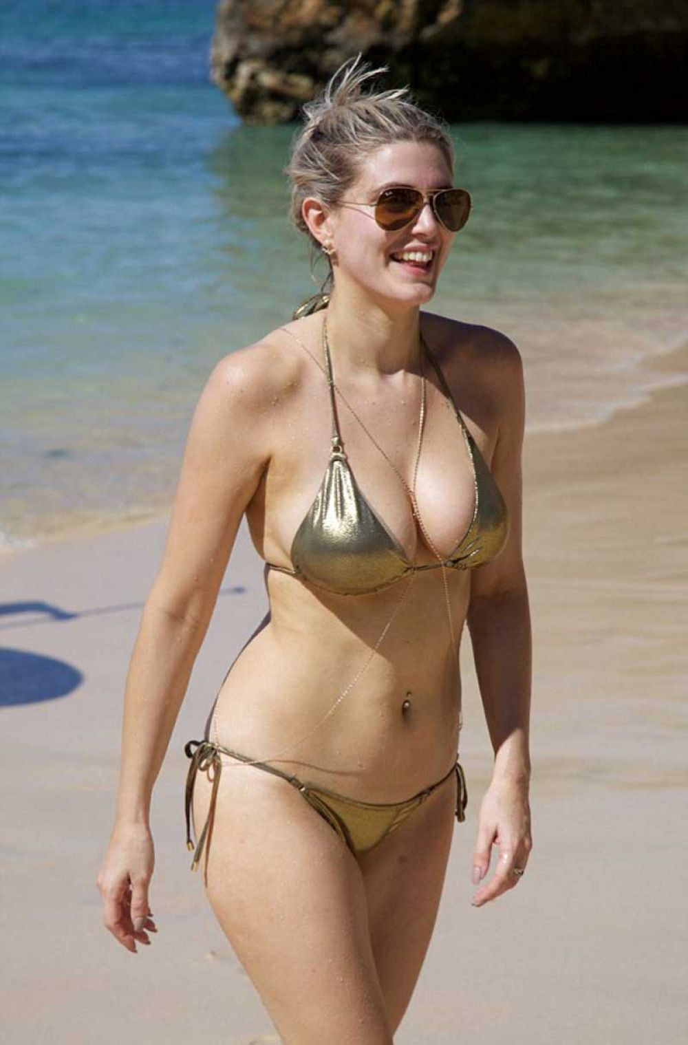 ASHLEY JAMES in Golden Bikini at a Beach in Bali 01/09/2016