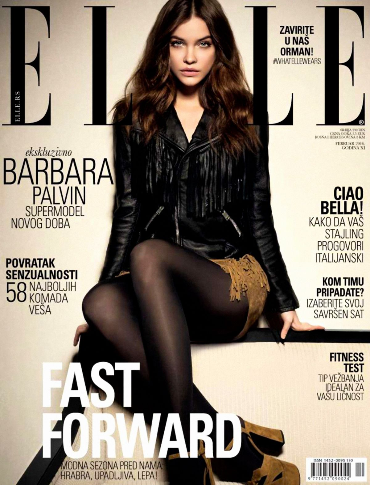 BARBARA PALVIN on the Cover of Elle Magaine, Serbia Frebruary 2016 Issue