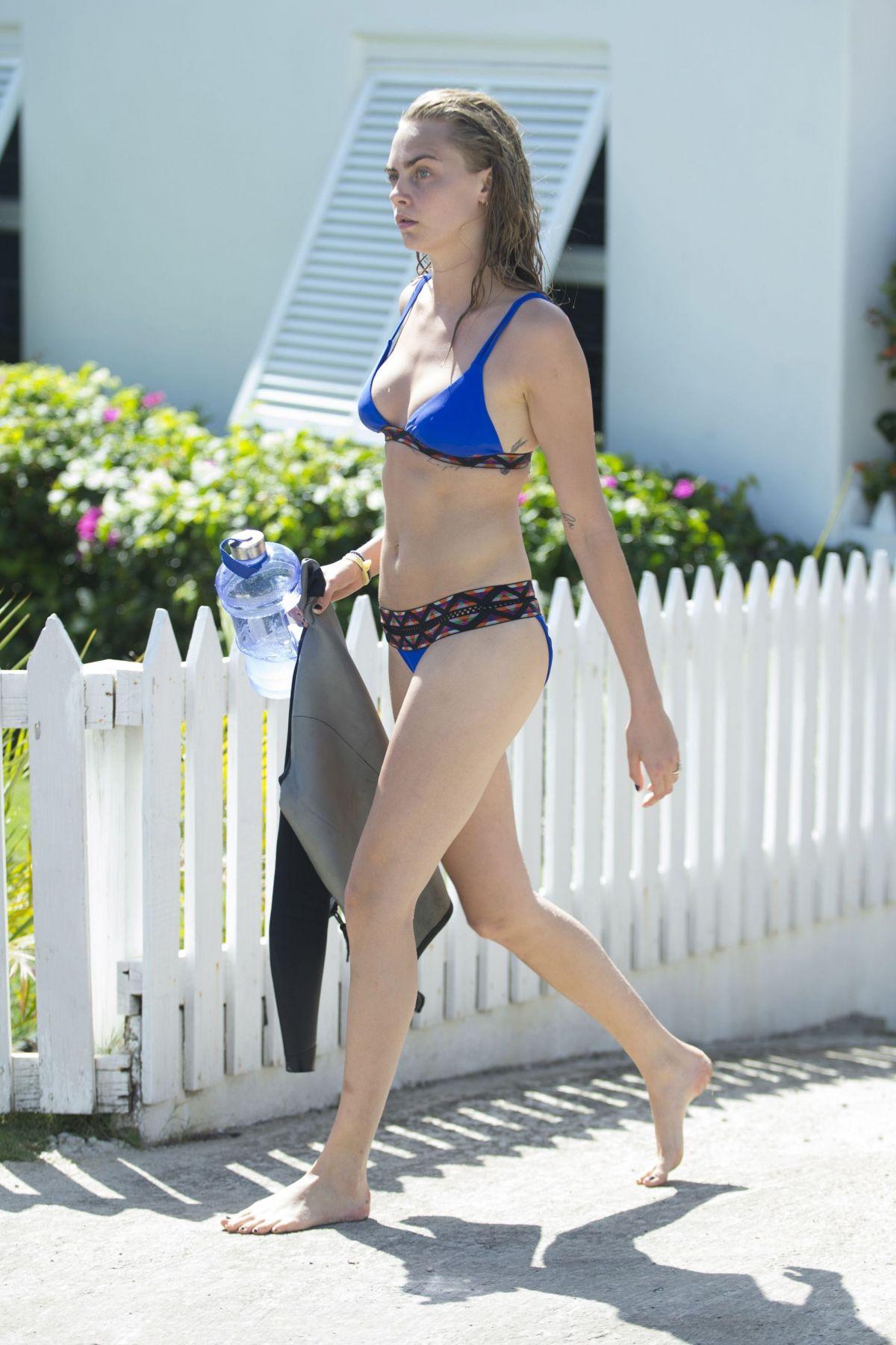 CARA DELEVINGNE in Bikini at a Beach in Barbados 01/01