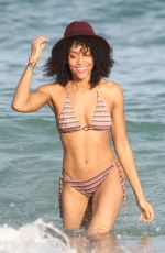 CLAUDIA JORDAN and ANNIE ILONZEH in Bikinis at a Beach in Miami 01/01/2016