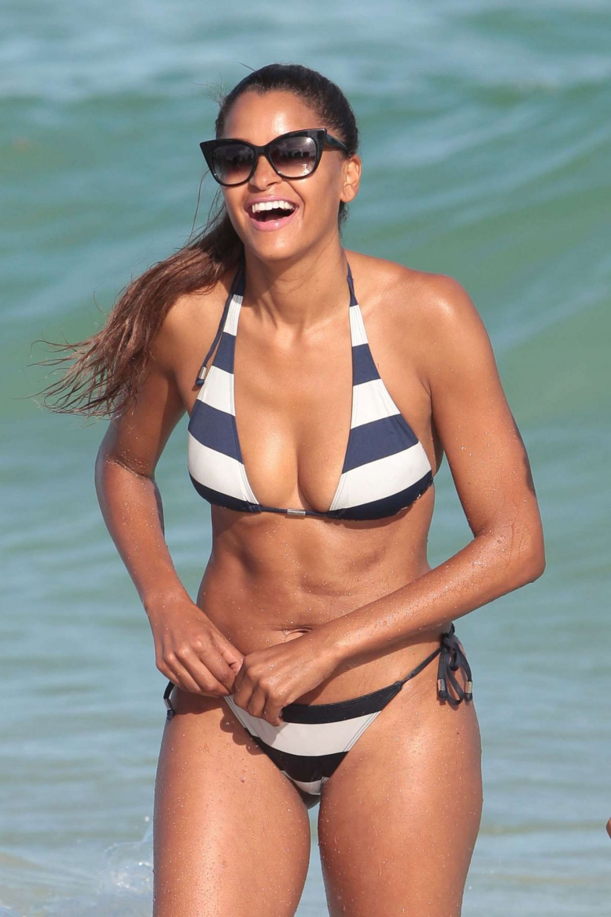 CLAUDIA JORDAN in Bikini on the Beach in Miami  01/02/2016
