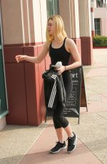 ELLE FANNING Heading to a Gym in Studio City 01/30/2016