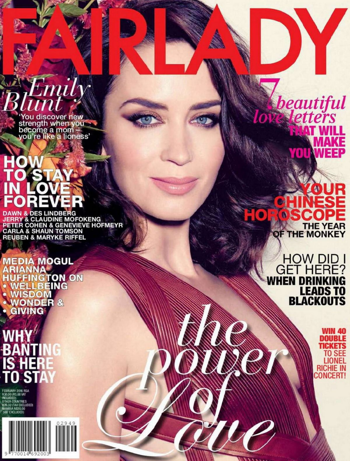EMILY BLUNT in Fairlady Magazine, February 2016 Issue