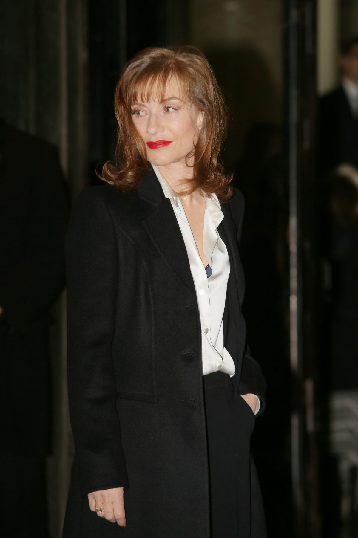 ISABELLE HUPPERT Arrives at Giorgio Armani Prive Haute Couture 2016 Fashion Show in Paris 01/26/2016