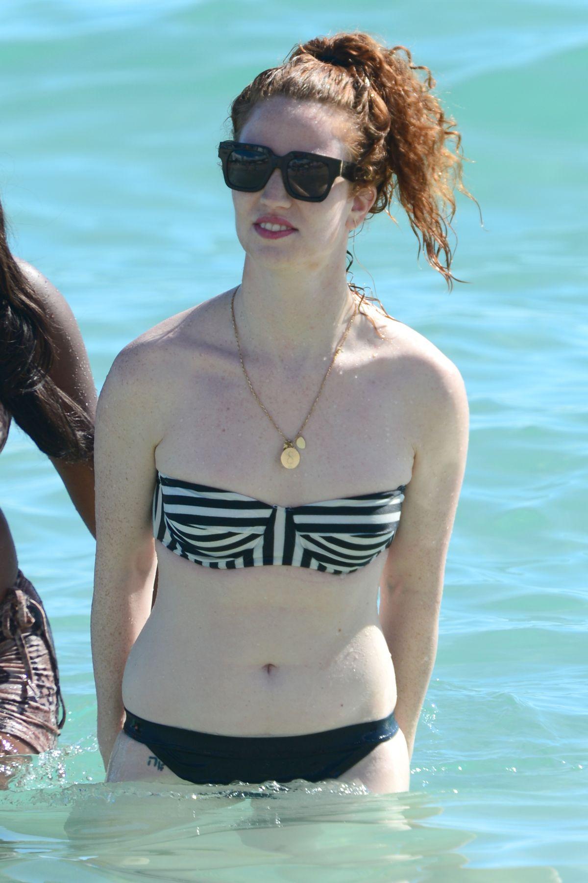 JESS GLYNNE in Bikini on the Beach in Miami 01/02/2016