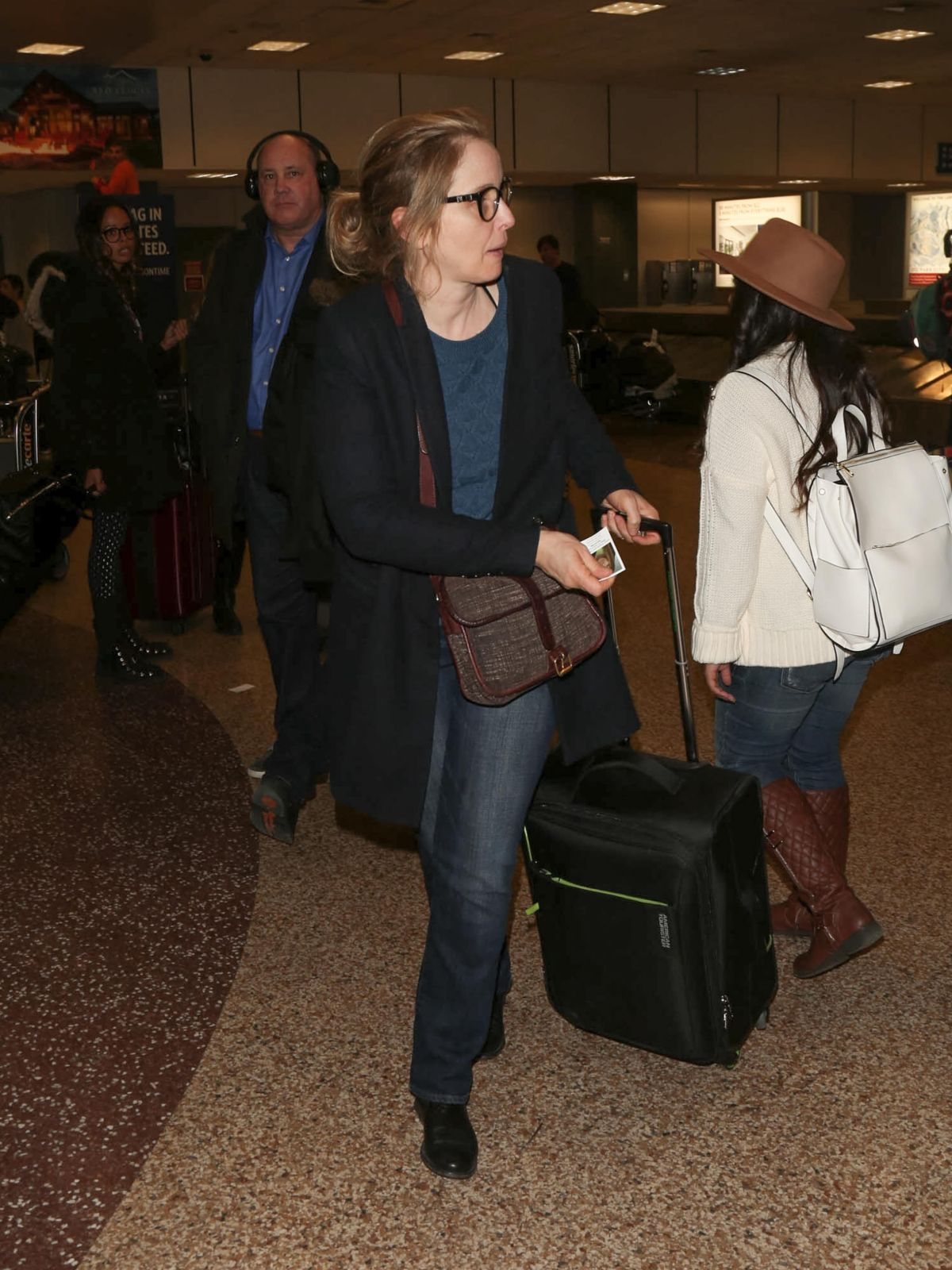 JULIE DELPY Arrives at SLC Airport for Sundance Film Festival 01/21/2016
