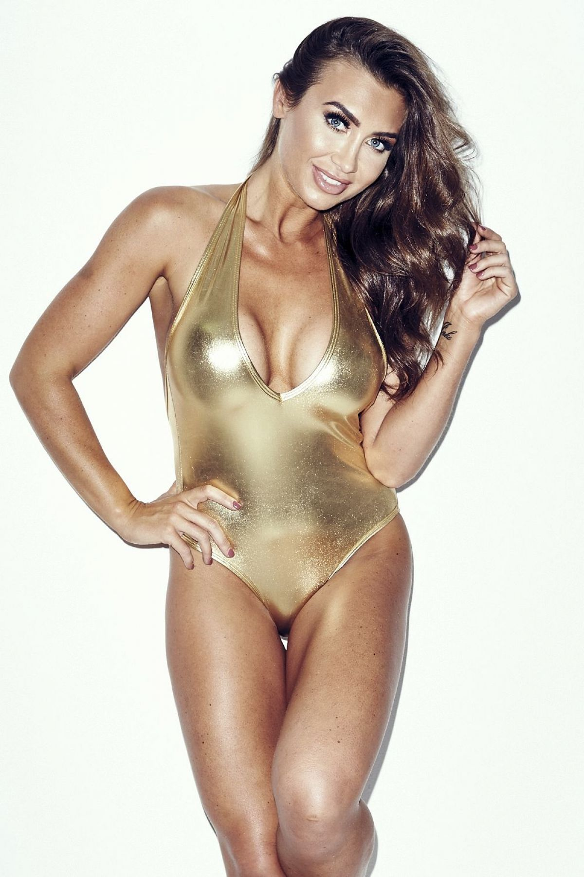 LAUREN GOODGER - Gold Swimsuit Photoshoot