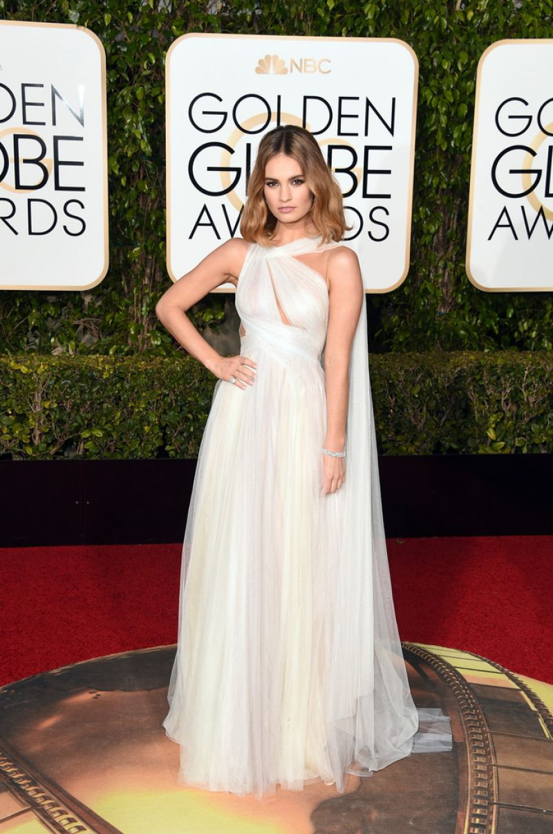 LILY JAMES at 73rd Annual Golden Globe Awards in Beverly Hills 10/01/2016