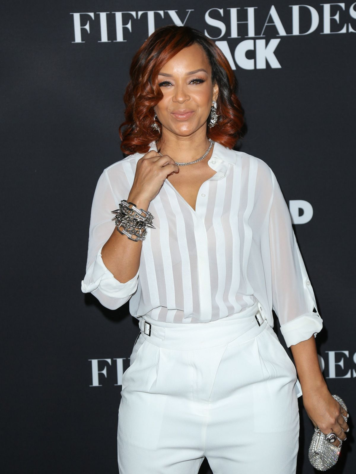 LISARAYE MCCOY at Fifty Shades of Black Premiere in Los Angeles 01/26/2016