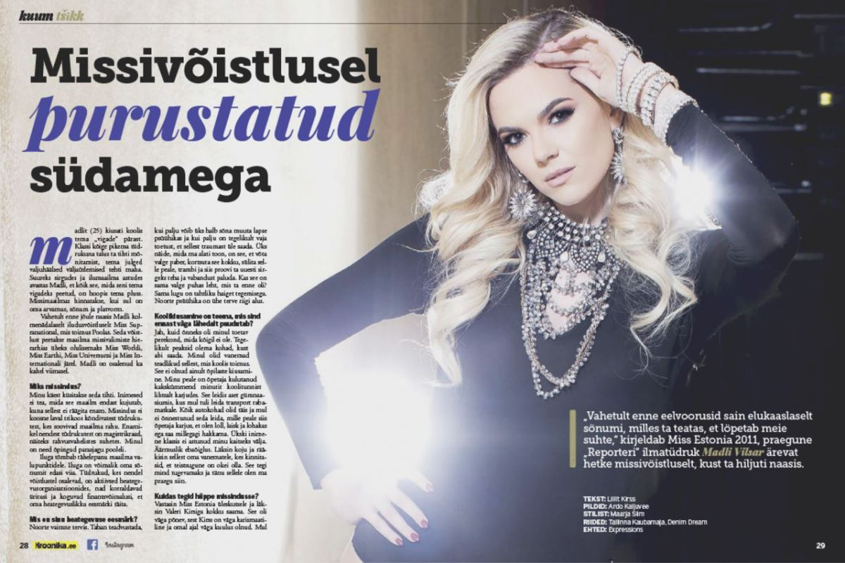 MADLI VILSAR in Kroonika Magazine, Estonia January 2016 Issue
