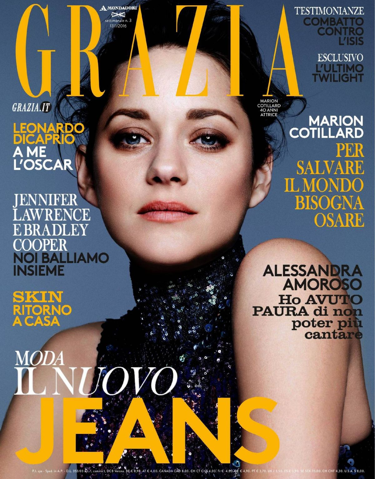 MARION COTILLARD in Grazia Magazine, Italy January 2016 Issue
