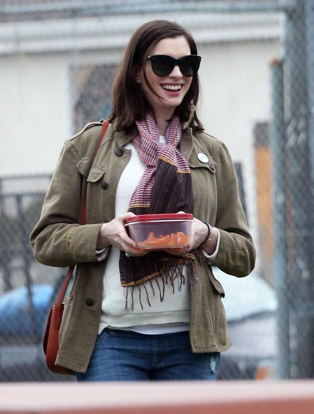 Pregnant ANNE HATHAWAY at a Park in Los Angeles 01/29/2016