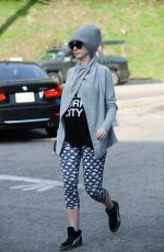 Pregnant ANNE HATHAWAY Out and About in West Hollywood 01/19/2016