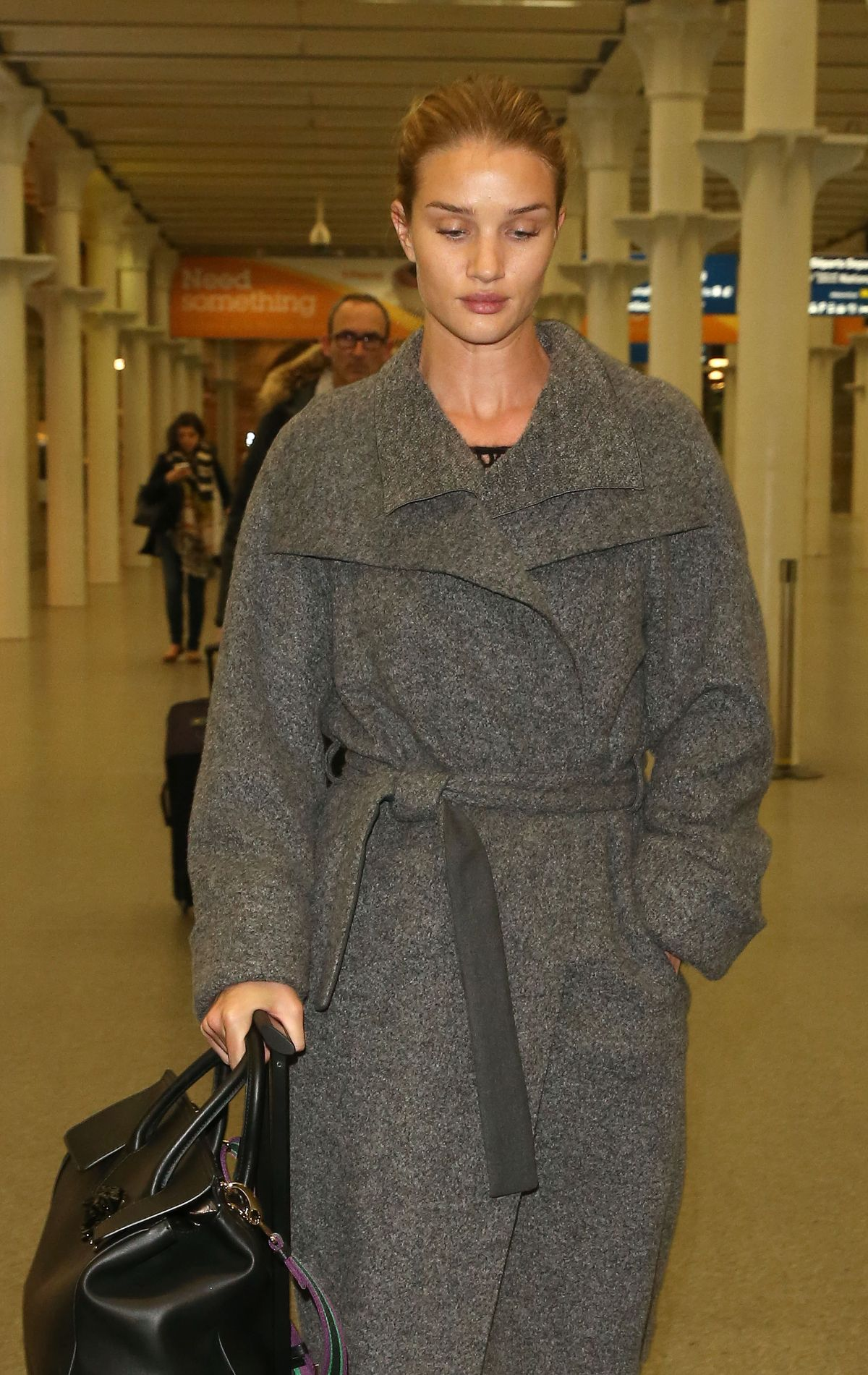 ROSIE HUNTINGTON-WHITELEY at St. Pancras Train Station in London 01/28/2016