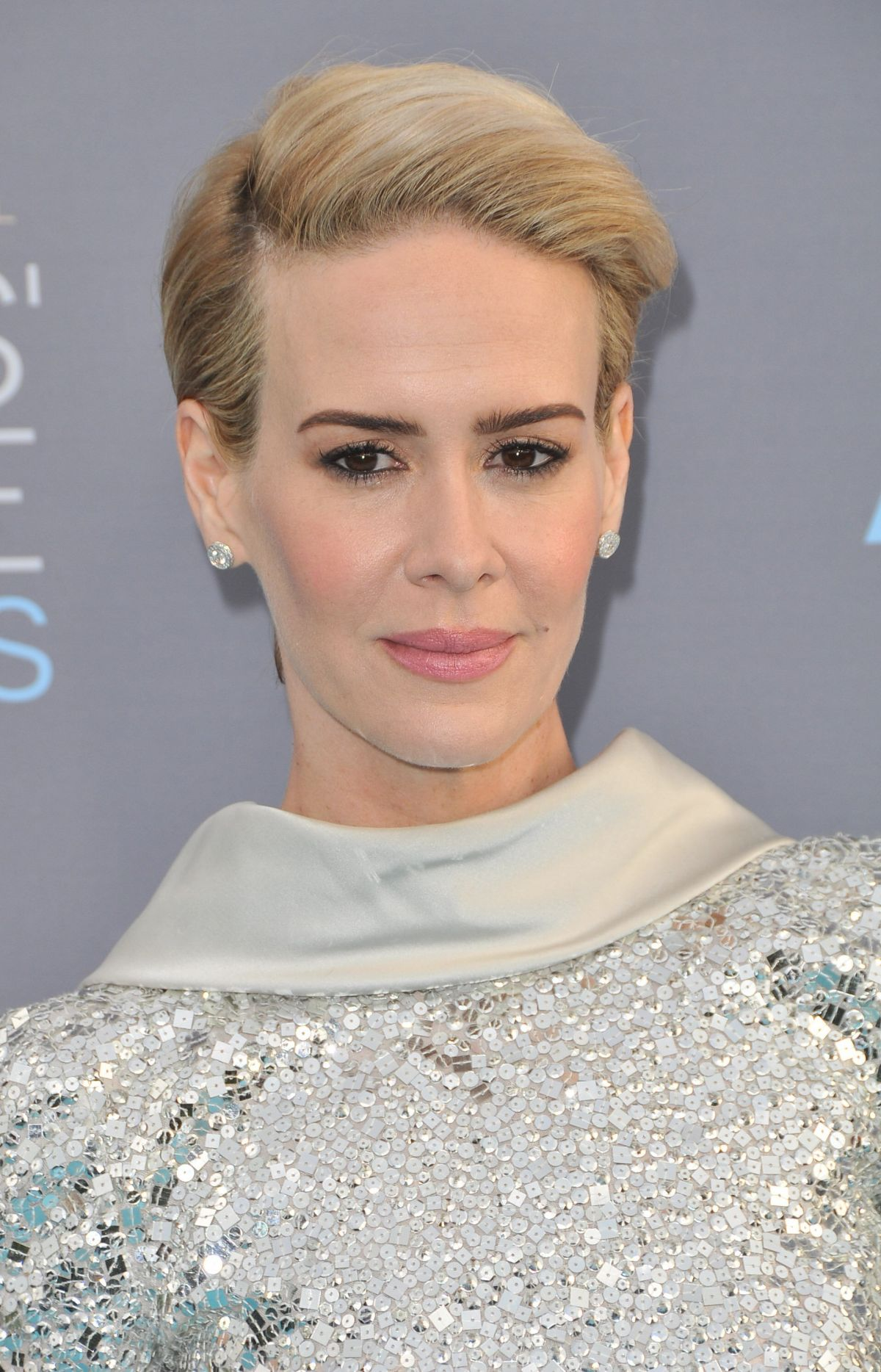 The 42-year old daughter of father (?) and mother(?), 172 cm tall Sarah Paulson in 2017 photo