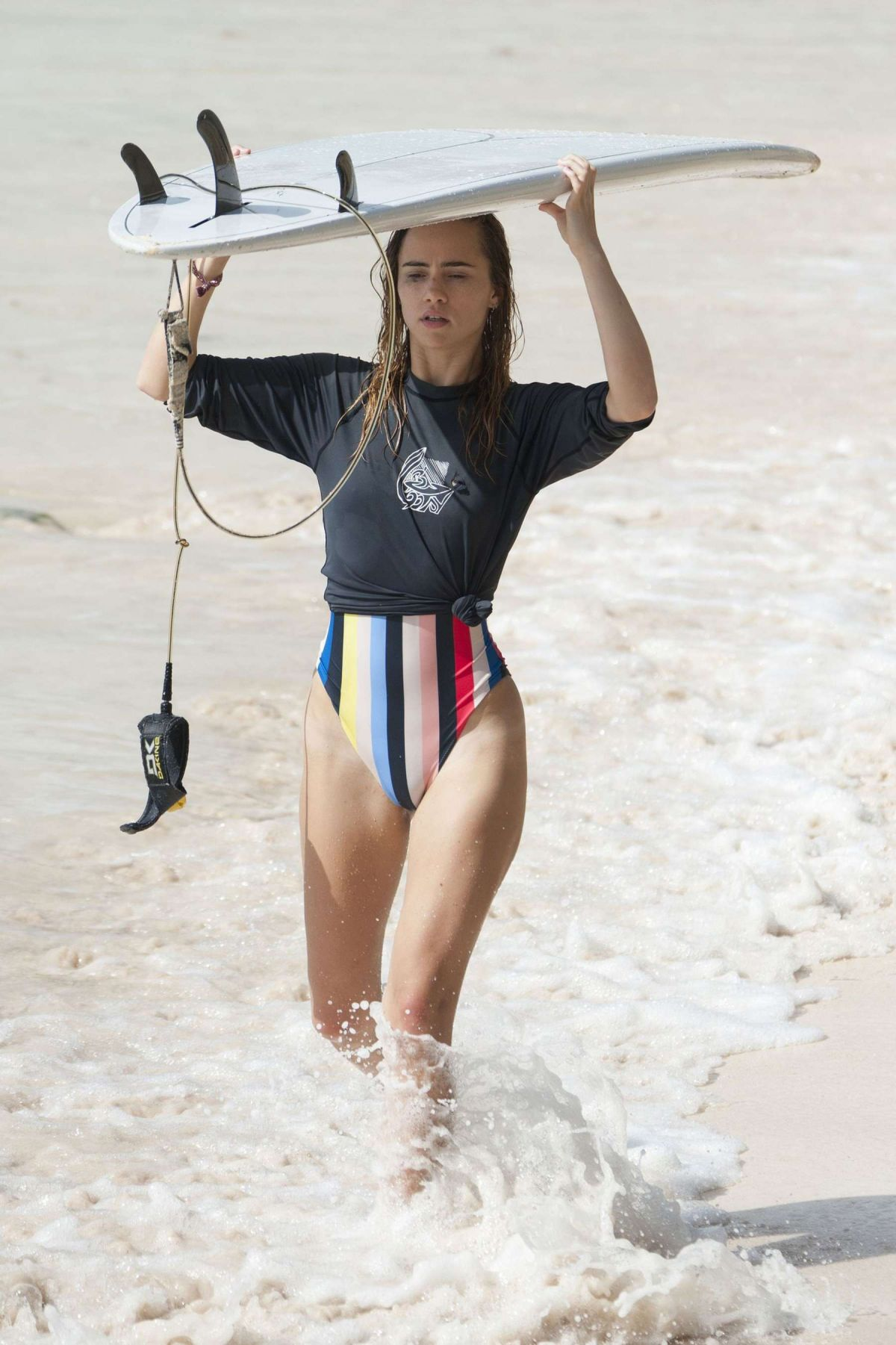 SUKI WATERHOUSE in Bikini Bottom Surfing in Barbados 01/04/2016
