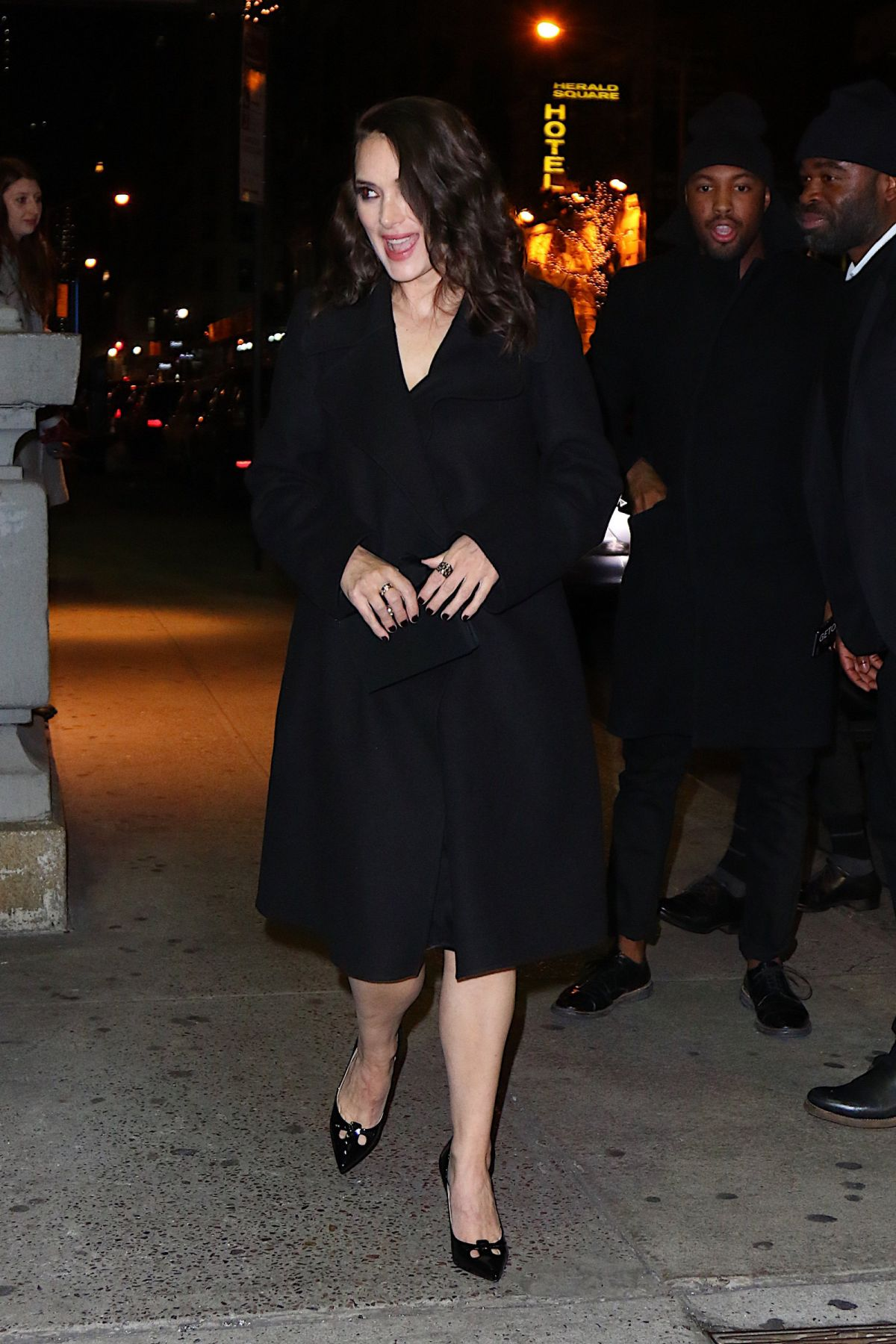 WINONA RYDER Night Out in New York 01/18/2016