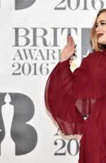 ADELE at Brit Awards 2016 in London 02/24/2016