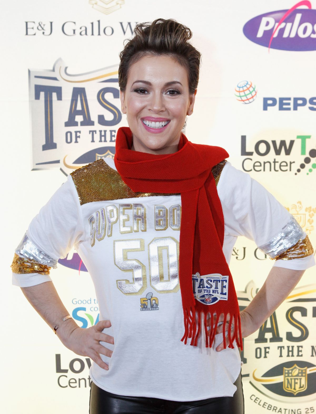 ALYSSA MILANO at Taste of NFL 25th Anniversary Party with a Purpose in San Francisco 02/06/2016