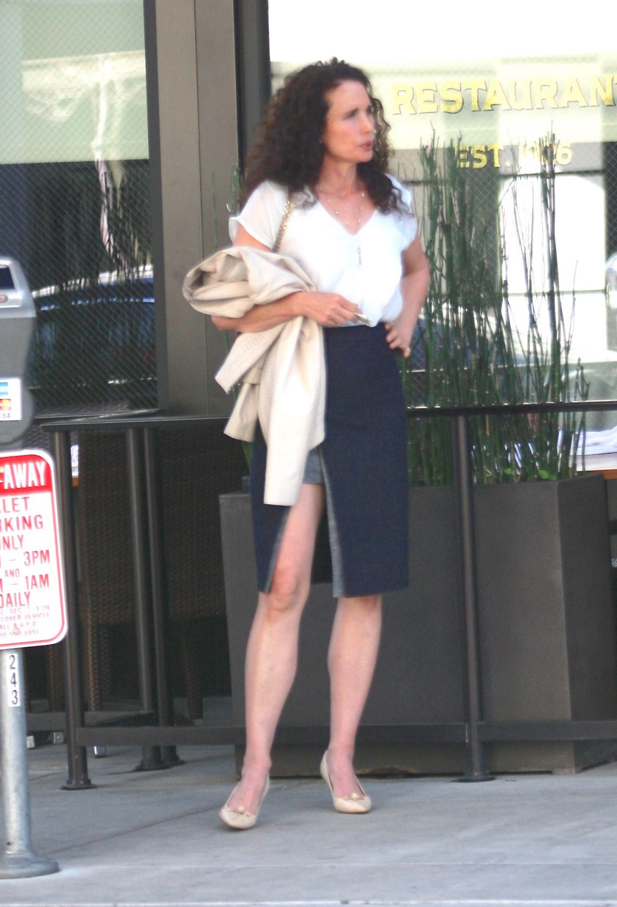 Andie macdowell at the palm restaurant in beverly hills 02 22 2016