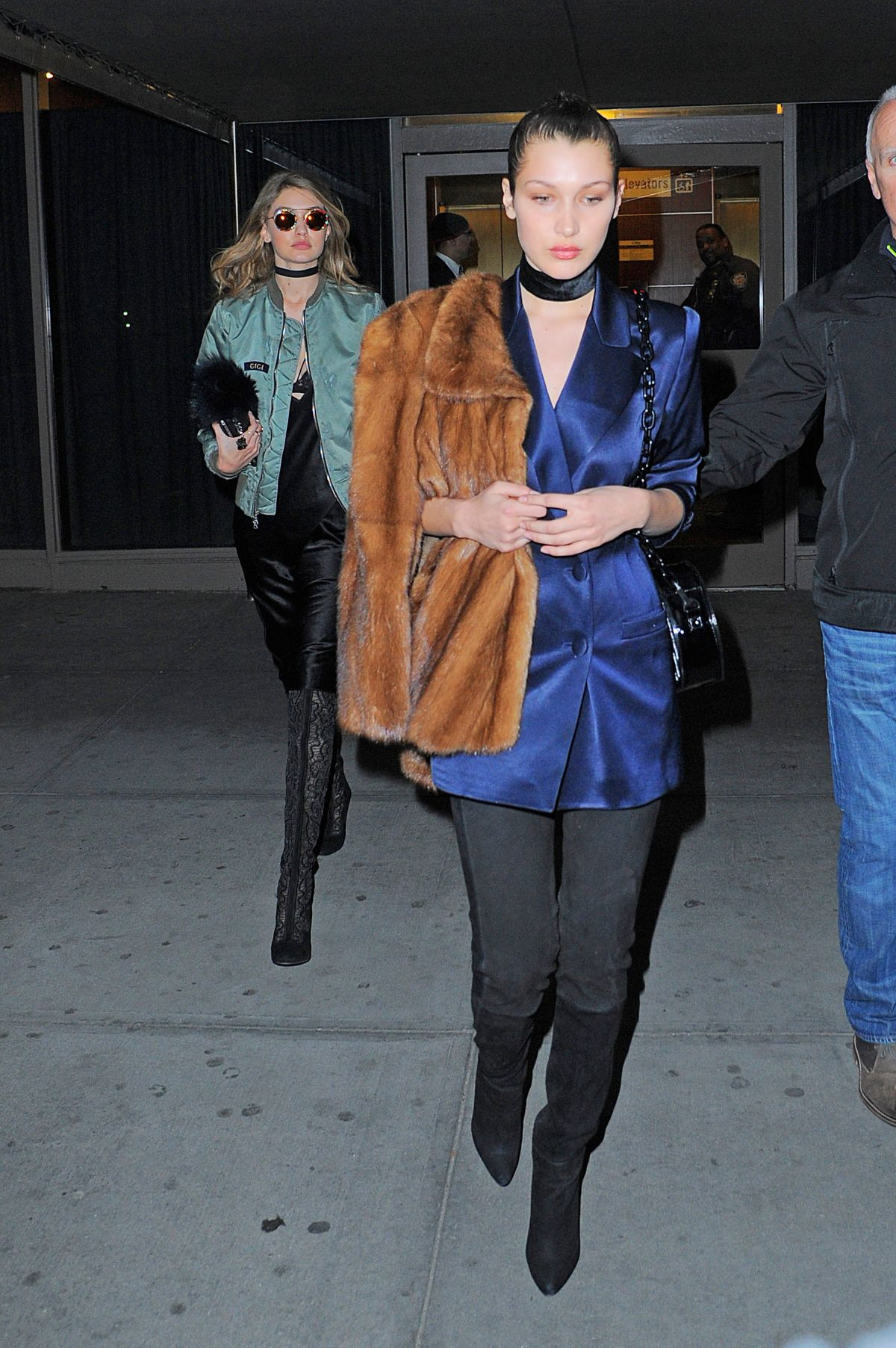 Kylie Jenner and Bella Hadid walk in Kanye West New York
