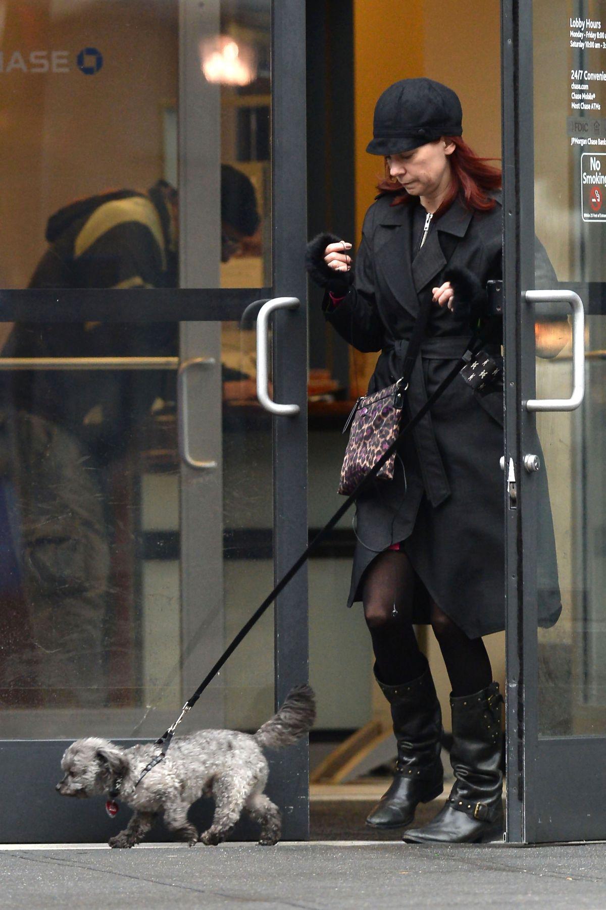 CARRIE PRESTON Out with Her Dog in New York 02/03/2016